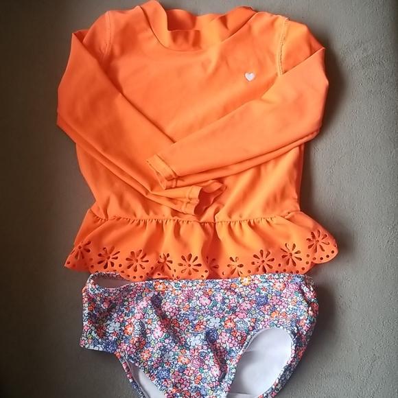 CARTER/'S® Baby Girls/' 12M Neon Orange Long Sleeve Rashguard Swim Set NWT